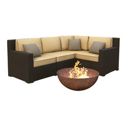 Forever Patio - Hampton 4 Piece Wicker Sectional Set, Chocolate Wicker and Wheat Cushions - The 4 Piece Hampton Modern Sectional Set by Forever Patio with Gold Sunbrella cushions (FP-HAM-4SEC-CH-WM) sports the latest modern wicker design while providing an incredibly luxurious outdoor seating experience. The set seats 4 adults comfortably, and includes a left arm, right arm, middle and corner section. This set features Chocolate wicker, which is made from High-Density Polyethylene (HDPE) for outdoor use. Every strand of this wicker is infused with the rich color and UV-inhibitors that prevent cracking, chipping and fading ordinarily caused by sunlight. Each piece features thick-gauged, powder-coated aluminum frames that make the set extremely durable and resistant to corrosion. Also included with the set are cushions covered in fade- and mildew-resistant Sunbrella fabric, available in a wide selection of colors. The seating is generously sized and the back cushions are overstuffed, providing unmatched outdoor comfort.