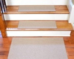 """Dean Flooring Company - Dean Non-Slip Tape Free Pet Friendly DIY Carpet Stair Treads/Rugs 27"""" x 9"""" (15) - Dean Non-Slip Tape Free Pet Friendly DIY Carpet Stair Treads/Rugs 27"""" x 9"""" (15) Plus 2' x 3' Landing Mat - Color: Cream : Quality, Stylish Carpet Stair Treads by Dean Flooring Company. Extend the life of your high traffic hardwood stairs. Reduce slips/increase traction. Cut down on track-in dirt. Great for pets and pet owners. Made in the USA from quality, long lasting stain resistant olefin carpeting with non-slip padded foam backing. Stands up great to high traffic. A fresh new look for your staircase. Do-it-yourself installation is quick and easy with our unique non-slip backing. Simply place your stair tread rugs on your staircase and go. No tapes, adhesives, staples, glue, or Velcro needed. And rest assured, they won't move and they won't damage your hardwood either. They are also simple and easy to remove as well with no sticky residue left behind. Each tread is bound with color matching binding tape. No bulky fastening strips. You may remove your treads for cleaning and re-attach them when you are done. Add a touch of warmth and style to your stairs today with new stair treads from Dean Flooring Company! We make our own stair treads at Dean Flooring Company and our products are not available from anyone else."""