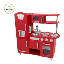 KidKraft - Red Vintage Kitchen by Kidkraft - Young chefs are sure to love cooking up fun with our adorable Red Vintage Kitchen! This play kitchen has doors that open and close, knobs that click and turn and tons of convenient storage space. Kids will feel just like mom and dad when they stand around this adorable kitchen and come up with fun recipes to cook up for the family.