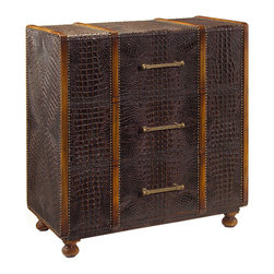 John Richard - John Richard Carpathia Steamer Chest EUR-01-0138 - Faux crocodile with close nail detailing and wrought brass handles inspired by steamer chest luggage fashionable around the turn of the 20th century.