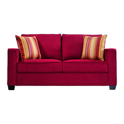 PORTFOLIO - Portfolio Madi Crimson Red Microfiber Sofa with Wine Striped Accent Pillows - This Portfolio Home Furnishings Madi sofa features transitional squared arms and high-performance crimson red microfiber upholstery. The Portfolio Madi sofa is stain-resistant and includes two striped decorative pillows.