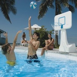 Dunn Rite PoolSport Portable Pool Basketball Hoop - The Dunn Rite PoolSport Portable Pool Basketball Hoop features a color-matched ball, 14-inch steel rim (36-inch height) and a solid 31W x 22H-inch poly backboard that overhangs the water. The pedestal of this basketball hoop extends the rim out over the water so players don't have to get so close to the pool's edge. All hardware is stainless steel.About Dunn Rite Pool ProductsFamily owned and operated since 1983, Dunn Rite Pool Products got its start in Elwood, Indiana. They got their start manufacturing their own line of quality patio furniture and in 1988, their pool products division was created. Dunn Rite Pool Products is known for innovative products developed to be of the highest quality. They were the first to market a wall-mounted pool fountain, the Wonderfall, and the Splash & Slam, the first commercial-grade basketball hoops product. Every purchase from Dunn Rite Pool Products means quality and value every time.