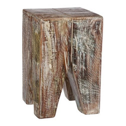"""CG Sparks - Stripped Wood End Table - Features: -Material: Reclaimed wood.-Crafted by artisans in India.-Unique decoration for your home, garage or patio.-Collection: Reclaimed.-Distressed: No.-Powder Coated Finish: No.-Gloss Finish: No.-Solid Wood Construction: Yes.-Nesting Tables: No.-Non-Toxic: Yes.-UV Resistant: No.-Scratch Resistant: No.-Weather Resistant or Weatherproof: Not weather resistant.-Water Resistant or Waterproof: Not water resistant.-Stain Resistant: No.-Lift Top: No.-Storage Under Table Top: No.-Exterior Shelves: No.-Glass Component: No.-Legs Included: Yes.-Casters: No.-Stackable: Yes.-Reclaimed Wood: Yes.-Adjustable Height: No.-Outdoor Use: Yes.-Commercial Use: No.-Recycled Content: No.-Product Care: We recommend using a cleaning solution of 3 parts water to 1 part white vinegar. Clean with a cotton rag..Dimensions: -Overall Height - Top to Bottom: 20"""".-Overall Width - Side to Side: 13"""".-Overall Depth - Front to Back: 13"""".-Overall Product Weight: 25 lbs.Assembly: -Assembly Required: No.-Tools Needed: No tools required.-Additional Parts Required: No."""