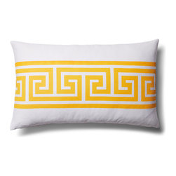 5 Surry Lane - Indoor Outdoor Greek Key Geometric Modern Decorative Throw Pillow Lumbar, Yellow - Designer Greek Key Lumbar Pillow.  100% polyester.  Down insert.  Hidden zipper closure.
