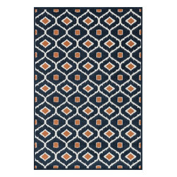 Loloi Rugs - Loloi Rugs Oasis Navy-Orange Contemporary Indoor / Outdoor Rug X-9332ROVN30-SOIS - Boldly designed and brightly colored, our Oasis Collection transforms any outdoor space into a modern patio paradise.This collection is power loomed in Egypt, ensuring precision in color and design for each and every piece. And because the 100% polypropylene yarns are specially tested to withstand UV rays and rain, it's the perfect all-weather rug.