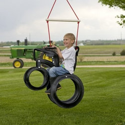 "Tractor Ride 'N Tire Swing - The Tractor Ride N Tire Swing lets your kid have fun and excitement with an inspired tractor design. It comes fully assembled and features a decay resistant nylon rope and 175lb weight capacity. Attach to any swing set or sturdy tree branch and swing through the cornfields.About M and M Sales Inc.M and M Sales Inc. builds the highest quality tire swings available. Each piece offers a unique design and is designed for fun and safety. """"Inspiring Outdoor Adventures"""" is the company's motto and they stand behind their products and quality craftsmanship. The design of their swings inspire the imagination of little ones and offer a comfortable way to enjoy the outdoors."