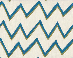 Zig Zag Fabric - The lovely Mally Skok has just released her African Fabric Collection, which includes this zig zag pattern. The azure colorway would wake up any dining table as a tablecloth.