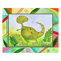 Oh How Cute Kids by Serena Bowman - Baby Dino Mytes - Tank, Ready To Hang Canvas Kid's Wall Decor, 16 X 20 - This silly, sweet picture is part of my Baby Dino Mytes dinosaurs series.
