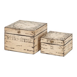 None - 2-piece Decorative Wood Box Set - This lovely wood box set is composed of well seasoned quality wood in a lovely surface that provides a lovely decor. The set includes two boxes in a sort of distressed finish.