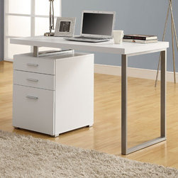 "Monarch Specialties Inc. - Desk - This simple yet practical ""hollow-core"" desk is the perfect addition to your home office. The mobile side drawers provide you with space to store office supplies, papers, books, files folders, and plenty more. Use the spacious top for your computer, a lamp and even some pictures. This desk will fit in perfectly into any space. Features: -Left or right configuration.-Top surface extends over filing cabinet.-Desk Type: Computer Desk.-Base Finish: Silver.-Powder Coated Finish: No.-Gloss Finish: No.-UV Finish: No.-Top Material: Manufactured Wood.-Base Material: Metal.-Non-Toxic: Yes.-Water Resistant: No.-Stain Resistant: No.-Heat Resistant: No.-Style: Contemporary.-Distressed: No.-Eco-Friendly: No.-Cable Management: No.-Keyboard Tray: No.-Height Adjustable: No.-Drawers Included: Yes -Number of Drawers: 3.-File Drawer: Yes.-Safety Stop : No.-Soft-Close Drawer: No.-Locking Drawer: No.-Core Removable Drawer Locks: No.-Ball Bearing Glides: No..-Number of Drawer Pedestals: 3.-Pencil Drawer: No.-Jewelry Tray: No.-Exterior Shelving: No.-Cabinets Included: No.-Ergonomic Design: No.-Handedness: Both.-Scratch Resistant: No.-Chair Included: No.-Legs Included: Yes -Number of Legs: 5.-Leg Material: Wood.-Leg Glides: No..-Casters Included: No.-Hutch Included: No.-Treadmill Included: No.-Cork Back Panel: No.-Modesty Panel: No.-CPU Storage: No.-Built In Outlet: No.-Built In Surge Protector: No.-Light Included: No.-Finished Back: No.-Tipping Prevention: No.-Modular: No.-Lifestage: Teen; Adult.-Application: Home Office.-Commercial Use: No.-Product Care: Clean with damp soft cloth.-Solid Wood Construction: No.-Swatch Available: No.-Recycled Content: No.Specifications: -3 Drawer filing cabinet for storing items.-FSC Certified: No.-EPP Certified: No.-CARB Compliant: No.-ISTA 3A Certified: No.-General Conformity Certificate: Yes.-Green Guard Certified: No.-ANSI BIFMA Certified: No.-SCS Certified: No.-ADA Compliant: No.-FIRA Certified: No.-GSA Approved: No.Dimensions: -Overall Height - Top to Bottom: 30"".-Overall Width - Side to Side: 47.25"".-Overall Depth - Front to Back: 23.75"".-Drawer: -Drawer Interior Height - Top to Bottom: 4"".-Drawer Interior Width - Side to Side: 15"".-Drawer Interior Depth - Front to Back: 15""..-Desktop Height: 30"".-Desktop Width - Side to Side: 47.5"".-Desktop Depth - Front to Back: 23.5"".-Knee Space Height: 28.5"".-Knee Space Width: 28"".-Knee Space Depth: 23.5"".-Legs: -Leg Height: 28"".-Leg Width - Side to Side: 1.5"".-Leg Depth - Front to Back: 1""..-Overall Product Weight: 75 lbs.Assembly: -Assembly Required: Yes.-Additional Parts Required: No.Warranty: -Product Warranty: 1 year limited."