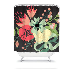 Shower Curtain Flower Coral Black Lime 71x74 Bathroom Decor Made in the USA - DETAILS:
