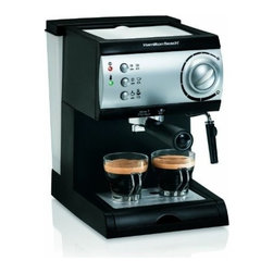 Hamilton Beach - HB Espresso Maker - From Hamilton Beach  get cafe quality results with this Espresso Maker.  Works with easy-serving espresso pods or ground coffee.  It features a powerful 15-bar Italian pump  no-fuss frother that lets you enjoy cappuccino too  easy-fill removable water reservoir and simple push-button operation.   .