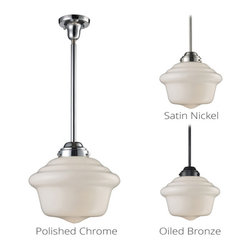 Schoolhouse Pendants - In The Early 1900'S, Schoolhouses, Banks, And Other Public Institutions Began Using Fully Enclosed Pendants That Not Only Gave Off An Abundance Of Light, But Were Also Easy To Clean And Maintain.  The Period Authentic Styling Is Reflected In The Fluted Or Patterned White Blown Glass And Matching Hardware Finished In Polished Chrome Or Antique Brass.  These Exclusive Pendants Exemplify The Uncompromising Historic Styling.