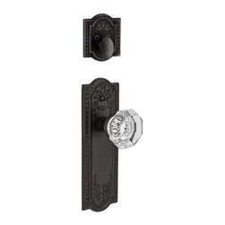 Nostalgic Warehouse - Nostalgic Meadows Plate with Waldorf Knob in Oil-Rubbed Bronze (726560) - The oil-rubbed bronze Meadows Plate and Deadbolt, with their intricate beaded detailing and botanical flourishes, create an inspired design theme. Pair this with our Waldorf Knob, and its crisp clean edges, for a lucent look. All Nostalgic Warehouse knobs are mounted on a solid (not plated) forged brass base for durability and beauty. Only interior half, Must be paired with Nostalgic Warehouse Exterior Handle set.