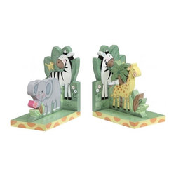Sunny Safari Bookends - These adorable safari-themed bookends charm with their animal figures and soft hues. They're made of durable, solid wood and painted with nontoxic paints.