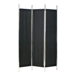 "Adesso Inc. - Rita Folding Screen Black/Chrome - Chrome finished metal frame has three black polyester fabric panels which are attached with Velcro. Patent pending KD construction allows for small cube carton, reducing shipping cost. Each panel: 14.5"" Width, 63"" Height.  Total Screen: 48"" Width, 72"" Height, 4.5"" clearance above and below fabric panels."