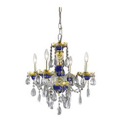 Elegant Lighting - Elegant Lighting 7810D19BE Alexandria 4-Light, Single-Tier Crystal Chandelier, F - Elegant Lighting 7810D19BE Alexandria 4-Light, Single-Tier Crystal Chandelier, Finished in Blue with Clear CrystalsElegant Lighting 7810D19BE Features: