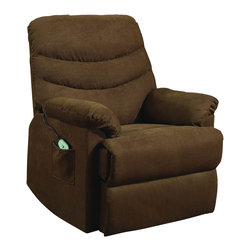 Homelegance - Homelegance Elevated Power Lift Chair in Dark Brown Microfiber - With the ease of touch, your relaxation experience is lifted in more ways than one. The Elevated Collection is a convenient addition to your home and lifestyle. The electronic lift mechanism takes you from seated to reclined or fully lifted to a standing position. Offered in two neutral tones, the chair will be a perfect fit, blending into many home decors.