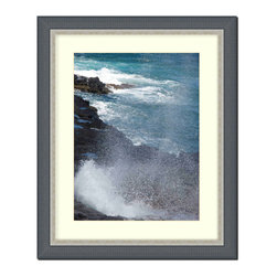 Frames By Mail - Picture Frame Black Ribbed with Silver Lip has white matte, Aam2044-Rm-810 - This 8X10 black ribbed frame with a silver lip is imported from Italy.  The white mat can be removed to accommodate a larger picture.  The frame includes regular plexi-glas (.098 thickness) foam core backing and can hang either horizontal or vertical.