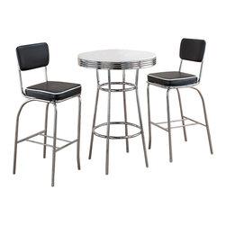 Coaster - Coaster Cleveland 3 Piece Bar Table and Stool Set - Coaster - Pub Sets - 230020453PKG