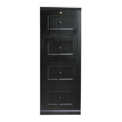 Eagle Furniture Manufacturers - Coastal 4-Drawer File Cabinet in Antique Black (Burnt Cinnamon) - Finish: Burnt Cinnamon. One locking and three non-locking file drawers. Decorative molding. Bead board detailing. Made from poplar, birch solids and veneers. Warranty: Eagle's products are guaranteed against material defects for one year from date of delivery to the dealer. Made in USA. No assembly required. 18.25 in. W x 22 in. D x 54.75 in. H (96.33 lbs.)The Coastal collection fits today's casual lifestyle. Recessed doors, bead board panels and solid wood moldings provide a clean, contemporary style that is complemented by a choice of painted or rich stained finishes.