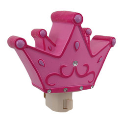 Hot Pink Princess Crown Nite Lite Night Light - This night light is perfect for your little Princess` room! The bright pink crown has hot pink accents, and a row of faceted clear rhinestones along the bottom gives it some extra flash. Made of cold cast resin and hand-painted, it measures 3 1/2 inches tall, 5 inches wide, and 2 inches deep. The night light features an on/off switch and comes with a type `c` bulb. It makes a great gift for anyone who loves the color pink.