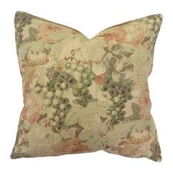 Bennison Floral Grapevine Pillow - Grapevine floral on tea stained linen, solid cotton ecru back.