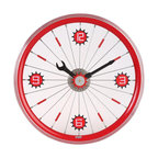 Maple's Clocks - Red Bike Aluminum Rim Wall Clock - Aluminum rim. Screw driver & wrench style hands. Conspicuous arabic numerals. 1.75 in. W x 16 in. L x 16 in. HThis wall clock features a red painted aluminum bicycle wheel.  There is a wrench hour hand and a screwdriver minute hand, along with a center gear that ticks every second.  Attached to the spokes are numbers every quarter hour.  The clock is 16 inches in diameter and 1.75 inches deep.  Precision time is kept with a quartz crystal.  The clock requires 1 AA battery (not included) and a 1 year limited warranty is included.