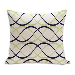 PURE Inspired Design - Dune Organic Cotton Fabric 18 x 18 Pillow in Lime/Ink/Natural - For eye-catching comfort, choose this crisscrossing wave pattern on 100 percent certified organic cotton canvas. With a hidden bottom zipper and neat knife-edge seams, it's a simple yet striking accent for your contemporary decor.