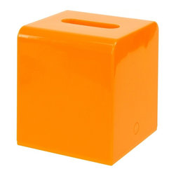 Gedy - Square Orange Tissue Box Cover of Thermoplastic Resins - Add this designer, contemporary tissue box holder to your already contemporary & modern bathroom. Made in very high quality thermoplastic resins and available in glossy orange. This free standing kleenex box cover is imported from Italy by Gedy and is fro