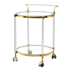 Antique French Lucite and Brass Over Chrome Bar Cart - Antique French Lucite and Brass Over Chrome Bar Cart Two Level Round on Casters with Curved Lucite Handle. Circa 1960.
