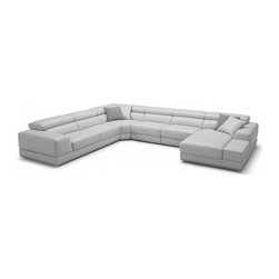 Bergamo Grey Sectional Extended Leather Sofa - Bergamo Grey& White Sectional Leather Sofa has an air of unassuming elegance and adds sophistication to any room. In order to deliver these ideals we chose to create a sofa that has mix and match qualities to it. Depending on the size of your area you can add or subtract pieces to reach the ideal piece of furniture.