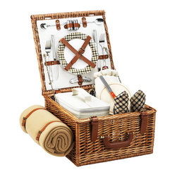 Picnic At Ascot - Cheshire Picnic Basket for Two with Blanket, Wicker W/London - The quality and sophistication of the English style Cheshire Picnic Basket for two is sure to impress.  Beautifully hand crafted using full reed willow, each basket includes ceramic plates, glass wine glasses, and the highest quality accessories.
