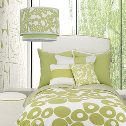 Oilo - Oilo Spring Green Modern Berries Duvet Cover - With a dramatic touch of cheerful, springtime color, this quirky spring green patterned duvet cover creates playful energy in your space with the abstract berries and stems pattern. The duvet's pattern is large and dramatic for a rich pop of youthful color in your space, perfect to compliment a unique, artistic space. With the big, bold berry pattern, the comforter cover offers a one-of-a-kind and fun touch to flourish in a room.Crafted from 100 percent woven cotton sateen300 thread countInsert not included6-inch inner ties for securing insertZippered duvet closureEco-friendly and machine washableAvailable in twin or full/queen sizesBedding, pillows, pendant lamp all sold separatelyMatches the Spring Green Modern Berries PillowcasesMade in the USA