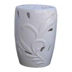 """Golden Lotus - White Porcelain Leave Pattern Round Stool - Dimensions:   Dia 13"""" / 12"""" x h18"""""""