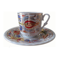 """Gural - Turkish Coffee Gold Accented Serving Set - Porcelain Turkish coffee cup and saucer set features a traditional Turkish motif in rich, bold colors.  Pattern in highlighted with shiny gold accents.  Set includes service for 6, Six Turkish coffee cups and Six matching saucers.  2.5 ounce coffee cups are about 2/14"""" tall; Saucers are about 4-1/2"""" diameter"""