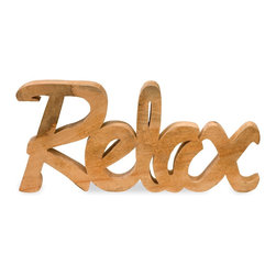 Carved Relax Sign Mango Wood Decor - *The Relax decor, carved from mango wood adds a natural element to rooms and retail displays. Finished in a honey tone wood grain, this piece is a fresh take on the hot typographic trend.