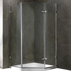 Vigo - Frameless Neo-Angle Clear/Chrome Shower Enclosure - The VIGO Frameless Neo-Angle Clear/Chrome Shower Enclosure with Low-Profile base creates a beautiful focal point for your bathroom