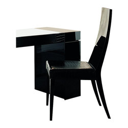 Rossetto - Rossetto Nightfly Wood Dining Chairs in Black (Set of 2) - Rossetto - Dining Chairs - R413105000028 - Wooden backs and seat in crocodile leather effect material. This dining chair set will go perfectly with Nightfly dining table. (Sold separately).