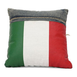 ZUO - Cowboy Cushion - Blue Denim w/ Italy Flag - Made from recycled denim sewn in whimsical chunky stripes. The Cowboy cushion brightens up any room. Bold red, white and green add serious pop.