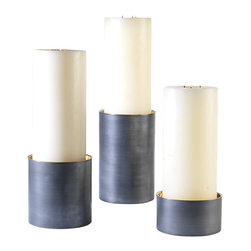 Studio A - Mistborn Pillar Drum - Medium - The combination of Zinc and Brass were once thought to be the Yin and Yang of emotional balance in metallurgy. Our candleholders exemplify a classic juxtaposition of soft, spun zinc finish with bright, shiny brass. Available in three sizes. Each size sold separately.