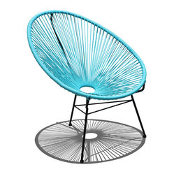 Harmonia Living - Acapulco Patio Chair, Glacier Blue - Call for the lemonade, put up your feet and let this patio chair cool you off. Shaped like a fan, the woven structure lets the breeze flow around your entire body. Incredibly comfortable, it's easy to clean and durable because its weather-resistant powder-coated steel frame practically shirks dirt.