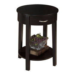 Jofran - Jofran Round Chairside Table in Dark Merlot - Jofran - End Tables - 10287 - Complete your contemporary living space with this chic round chairside table. A single drawer and shelf provide convenient storage and the round shape adds a slight feminine appeal. Clean block legs heighten the sleek appearance further enhanced by the Dark Merlot finish. Warm and rich with a contemporary look this round chairside table is a perfect match for your modern or casual home.