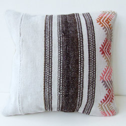 Anatolian Turkish Rug Pillow Cover Kilim by Mother's Atelier - These days, I am obsessed with kilim rugs made into pillows. We are picking a neutral-colored couch and I plan to go crazy with colorful and bohemian chic pillows like this.