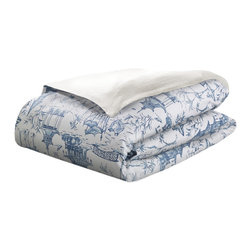 MysticHome - Pagoda - Duvet Cover by MysticHome, Queen - Pretty and chic, The Pagoda brings bygone exotic sensibilities into the present, with an intricate, peaceful, countryside drama in bright white and willowy blue.  The classical toile is perfectly enrapt with the complex beauty of the lattice.  Equipoising the toile / lattice pieces, The Pagoda blends the formal, almost-preppy elegance of the crisp white / navy grosgrain bolster, skirt, and Euro, highlighting both dynamic design and exquisite craftsmanship.