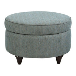 Klaussner - Klaussner Orion Fabric Ottoman Multicolor - K30900 - Shop for Ottoman & Footstools from Hayneedle.com! Smarten up your living space with the Klaussner Orion Fabric Ottoman. Not only is this round ottoman stylish it's also ultra handy. Use it as a classic ottoman for your sofa chair or loveseat. Lift off the bordered welted and cushioned top to reveal storage space inside. This ottoman is upholstered in durable polyester and comes in a fantastic teal color.About KlaussnerWith 16 U.S. manufacturing and distribution facilities and over 3 000 employees Klaussner is well known for its quality value-priced home furnishings produced by highly skilled employees and distributed by furniture retailers throughout the world. Asheboro N.C. is home for several of Klaussner's manufacturing and distribution facilities as well as the company's corporate headquarters and a 100 000-square-foot showroom. In recent years Klaussner has also begun to utilize worldwide sources to import leather upholstery bedroom dining room occasional entertainment accents and most recently a full line of accessories. This has allowed Klaussner to become a full product and service provider for the whole home.
