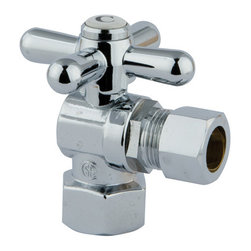 "Kingston Brass - Angle Stop with 1/2"" IPS x 1/2"" OD Compression - The 1/4-turn angle stop valve features an easy-to-handle cross lever which controls the movement of water through and from plumbing fixtures. The valve is made of solid brass built for durability and dependability and also comes in a variety of finishes to better coordinate your kitchen/bathroom.; 1/4-Turn Angle Stop; 1/2"" IPS x 1/2"" OD Compression; English Vintage design; High Quality Brass Construction; Premier Finish Cross Handle; Material: Brass; Finish: Polished Chrome Finish; Collection: Vintage"