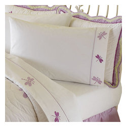 Pem America - Dragonfly Butterfly Twin Sheet Set - Butterflies and dragonflies dance across the face of this quilt with a light green frame drop.  The face material is a stark white with applique butterflies in purple, yellow and hot pink.  The frame is a lime green print with a scalloped edge. Sheet set includes: 1 flat sheet, 1 fitted sheet, and one pillowcase to fit a twin size bed (39x75 inches). 200 thread count 100% cotton sheeting material with embroidered hem treatments. Care Instructions: Machine wash cold/gentle, do not bleach, tumble dry low.