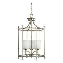Kichler 3-Light Foyer/Hall Lanterns - Brushed Nickel - Three Light Foyer Chain Hung. Not quite contemporary, not fully traditional - this collection envelops Edith Wharton's principles of design. Symmetrical and intriguing the graceful curves of simple lines in this caged foyer piece complement the brushed nickel finish and cased opal glass. 3-light, 100-w. Max. Dia. 17, body height 28-1/2, overall 102 1/2, extra lead wire 44. 6' of chain. For additional chain order no. 2996 ni.