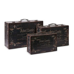 Walden Suitcases - Set of 3 - Inspired by door to door salesmen from an earlier time, this set of three suitcases feature vintage graphics and are a great collection to add to any decor!